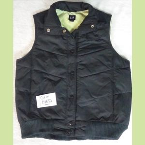 GAP WOMENS SIZE MED BLACK AND LIGHT GREEN VEST